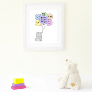 Elephant and Balloon Multi Birth Announcement