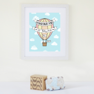 Hot Air Balloon Red Birth Announcement