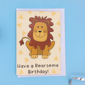 Product image of a lion birthday card