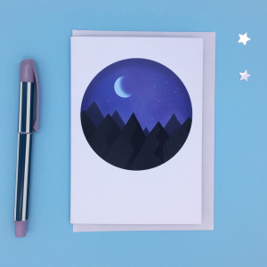 Product image of a card with a night mountain scene