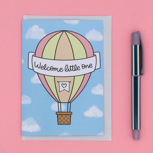 Product image of a hot air balloon card for a new baby